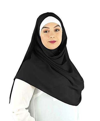 SAFIYA - Hijab Kopftuch zum schnellen überziehen für Frauen I Islamische fertig gebunden Kopfbedeckung Halstuch Haartuch I Damen Gesichtsschleier, Schal, Turban I Musselin/Chiffon - Schwarz