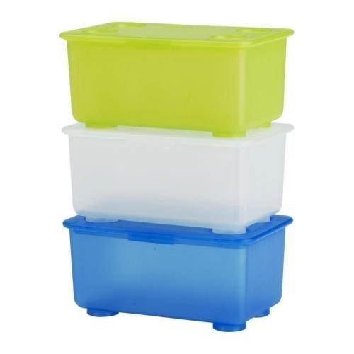 IKEA GLIS - Contenitore con coperchio, colore: bianco, verde chiaro, blu, 3 pezzi, 17 x 10 cm