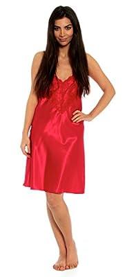 Satin Chemise Lace Ladies Nightie Knee Length Nightdress Silky Negligee UK Made!