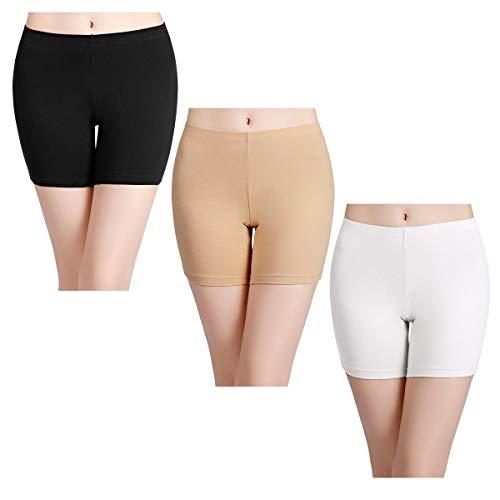 wirarpa Damen Kurze Leggins Panties Unterhose Retroshorts Boyshort Slip Schlüpfer Weich Unterwäsche 3er Pack Größe L