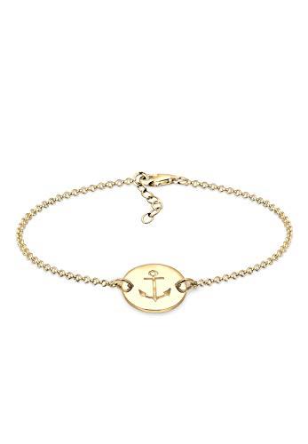 Elli Damen Armband mit Anker Plättchen Trend in 925 Sterling Silber - 17cm Länge