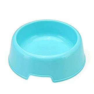 Vikenner Round Pet Dog Cat Plastic Bowl Durable Food Drink Feeder Bowl Candy Colors Feeding Dish Bowl(Blue) 24