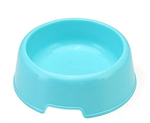 Vikenner Round Pet Dog Cat Plastic Bowl Durable Food Drink Feeder Bowl Candy Colors Feeding Dish Bowl(Blue) 1