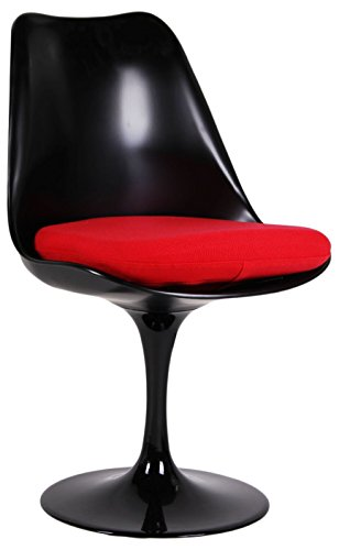 Tulip-Sessel SCHWARZ red cushion -