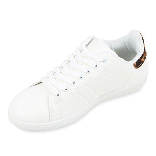 Damen Sneakers   Sneaker Low Metallic Cap   Sportschuhe Leder-Optik Glitzer   Freizeit Schnürer Prints Samt   Trainers Allyear Weiss Leopard