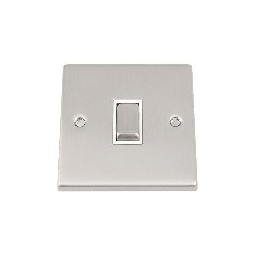 A5 Products - Intermedia del interruptor 1 de pandillas - satén cuadrado cromo mate - blanco interruptor de inserción del eje de balancín del metal - 10 amp