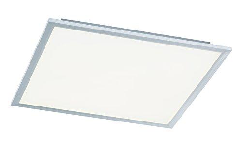WOFI Deckenleuchte, 1-flammig, Serie Liv, 1 x LED, 44 W, Breite 60 cm, Höhe 5.5 cm, Tiefe 60 cm, Kelvin 6000, Lumen 3400, silber, 9693.01.70.5600 (Energie Abhilfe)