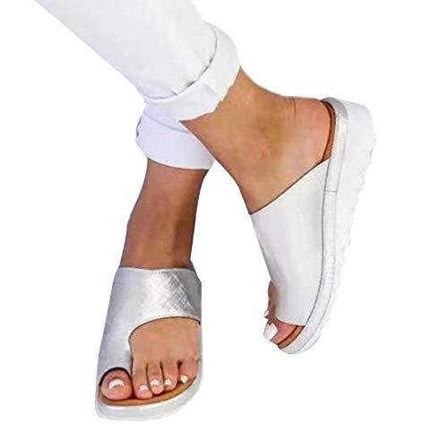 Yuanbbo Chaussures de Sandale Confortables pour Femmes, Chaussures en Cuir PU de correcteur d'oignon Toe Plage Respirante Peep Toe Sandales Occasionnelles