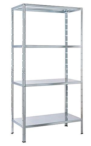 Regal Steckregal verzinkt Metall 137x75x30cm Regalsystem Steckregalsystem 4 Metall-Böden Traglast 200kg einfache Montage durch Stecksystem kein Verschrauben