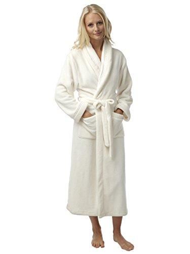 Ladies doux au toucher flanelle Fleece Robe avec Satin Trim taille S-M-L L'ivoire