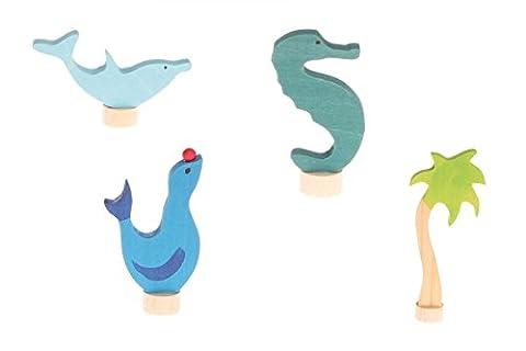 Figures décoratives 4 pièces fixées mer, Grimm