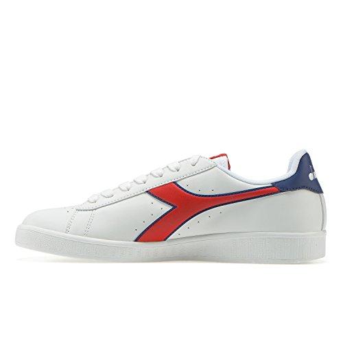 Diadora Game P, Sneaker a Collo Basso Unisex-Adulto C7355 - BIANCO-ROSSO CARMINE-BLU ESTATE
