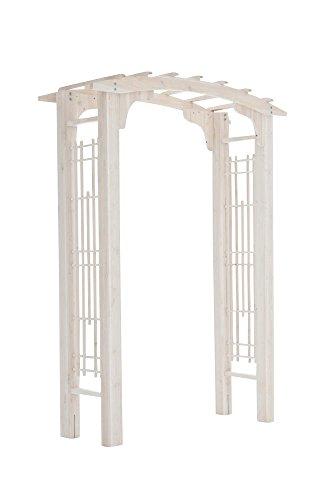 floristikvergleich.de CLP stabiler Holz-Rosenbogen KALMAR aus beschichtetem Vollholz, handgefertigt, Höhe 212 cm, Breite 157 cm Weiß