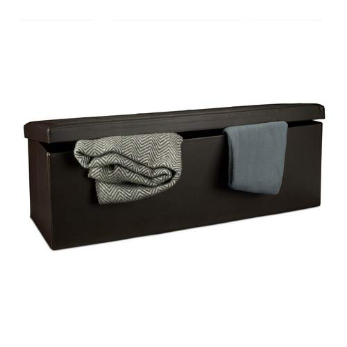 Relaxdays Banco plegable, Baúl de almacenaje, Cuero sintético, 38 x 114 x 38 cm, Marrón
