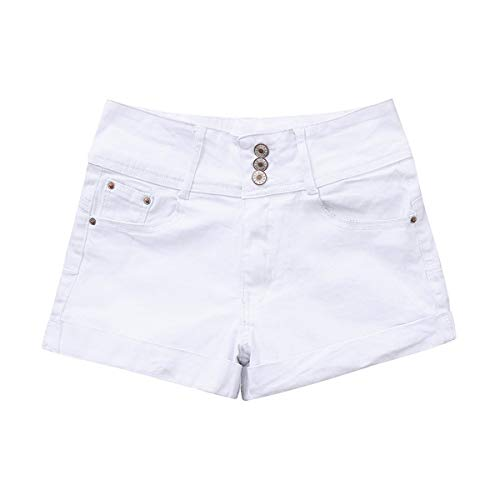 RORIESD& Plus Size Summer Denim Shorts Women Harajuku High Waist Shorts Femme ETE Jeans Short for Women Ladies Sexy Mini Shorts White S -