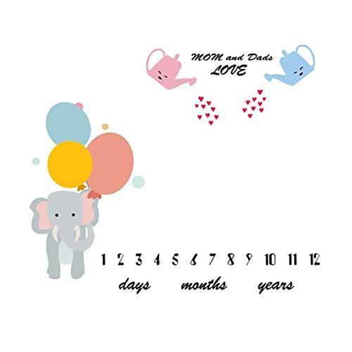Elefant Baby Meilenstein Decke (senden Sie 2 Sätze Von Bilderrahmen), Diligencer Neugeborenen Monatlichen Meilenstein Decke Mädchen Junge Größe 100 Cm