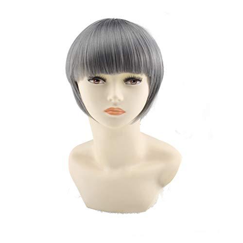 Perücke Haarteile Flauschige Qi Liu Hai Mode Tasche Gesicht Kurze Haare Oma Grau Pilz Kopf -