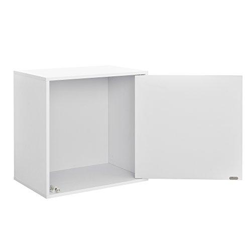 [en.casa] Wandregal mit Tür in Weiß 45x45x30cm perfekt kombinierbar Boxregal Schrank -