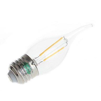 FDH E27 2W, 180LM 3000-3500K LED Core Filamento luz cálida luz de vela (CA 220-240 V,4pcs)