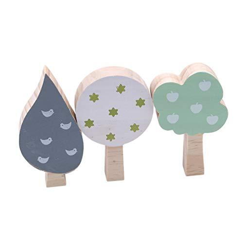 KYMLL 3 Teile/Satz Holz Dekoration Handwerk Spielzeug Kinder Buchstützen Wand Dekor Holz Baum Kinderzimmer Dekoration Ornamente Set von 4 grün und weiß dunkelgrau -