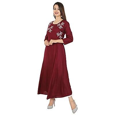 Cottonwalas Women's Rayon Embroidered Ankle Length Anarkali Kurti (Maroon)
