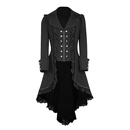 Luckycat Mantel- Punk Jacke Steampunk Gothic Langarm Jacke Retro Mittellang Mantel Kostüm Cosplay Uniform für Damen - Empire Mantel
