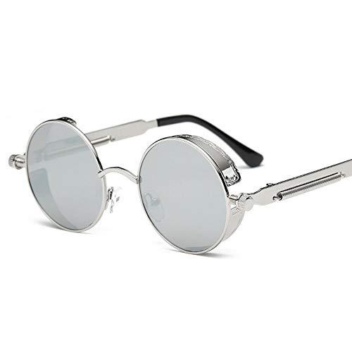 Sabarry Gafas de Sol con pequeñas, Redondo, Efecto Espejo, polarisierenden Vasos, Gafas de Sol para Hombre y Mujer Plateado 2 Talla única