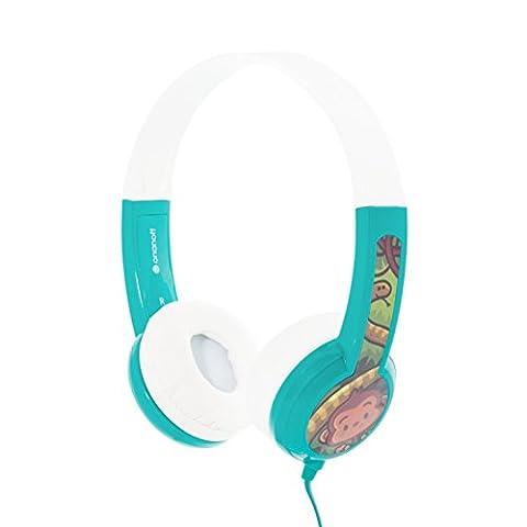 Kinder-Kopfhörer von Onanoff. Model BuddyPhones – Lautstärkebegrenzung – verstellbares Gehäuse – integrierter Kopfhörer-Splitter – sehr langlebig – hypoallergene Polsterung – für iPad, iPhone, Kindle, Computer, Tablet, Smartphone und andere Geräte – Verpackt in den USA – Grün