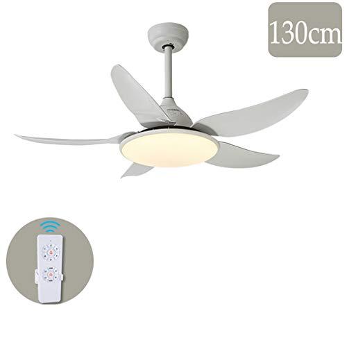 Deckenventilator Licht Home Restaurant Wohnzimmer Frequenzkonvertierung Silent Fan Kronleuchter (106 / 130cm) einstellbare Geschwindigkeit (Color : White-130cm) -