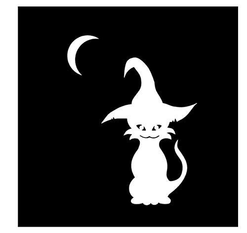 YOUYOUY 2Pcs Autoaufkleber Coolste Halloween Katze Und Hexen Vinyl Decor Auto Aufkleber Hochwertige Abziehbilder Silhouette Silber 11 * 14,4 cm