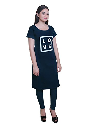 TRAZO Premium Quality Stylish Printed Round Neck Sort Sleevs Navy Long Cotton T Shirts For Women