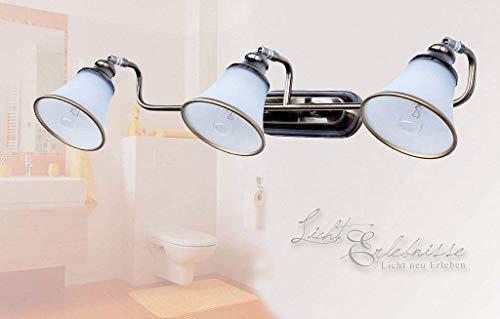 Exklusive 3er Badleuchte 3x E14 in Bronzeoptik IP20 Wandlampe Jugendstil Badezimmer Bad Wandleuchte Spiegelleuchte Beleuchtung