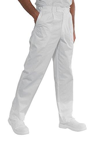Isacco Pantalone Lavoro Bianco, Bianco, S, 100% Cotone