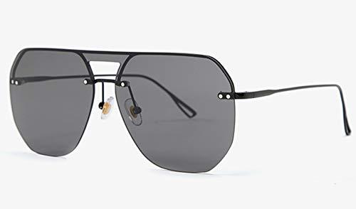Sonnenbrille,EIN Stück Quadratische Sonnenbrille Frauen Die Hälfte Frame Metall Uv400 Farbverlauf Objektiv Randlose Sonnenbrillen Mann Sommer Voll Schwarz