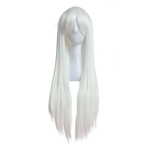 Tianya faszinierenden Damen Lange Gerade Full Hair Perücken Party Halloween Perücke Haar für Frauen, weiß, Length:80cm (Patient Fancy Dress)