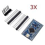 SLB Works 3Pcs 3.3V 8MHz ATmega328P-AU Pro Mini Microcontroller Board for Arduino