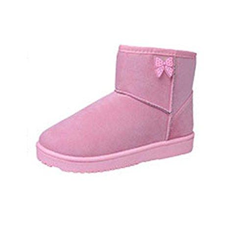 Stiefel Damen Clode® Damen Schuhe Bow Stiefeletten Winter Fur Boots Winterstiefel Warm Casual Flats Boots Rosa