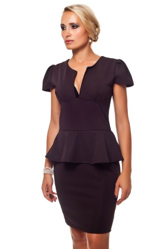 Business Look Schößchen Kleid Dunkelbraun