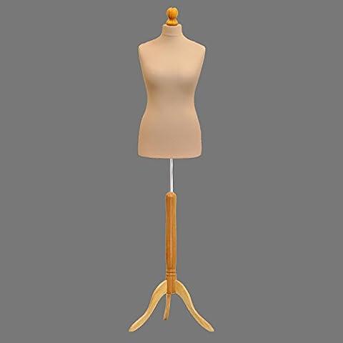 Crema LUCCESI–Maniquí Busto Maniquí para costura para estudiantes de moda con una base de madera ligera, talla 46/48, UK