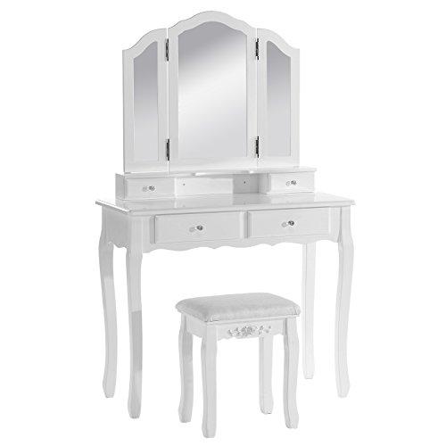 Woltu mb6027cm tavolo da trucco specchiera con tri-ford specchio pieghevole sgabello ben imbottito tavoli cosmetici toeletta con 4 cassetti in legno bianco