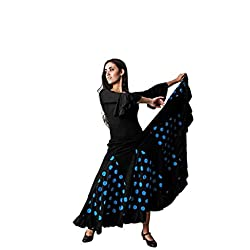Costumizate! Falda de Lunares Azul con un Volante para Mujer Adulta Talla m