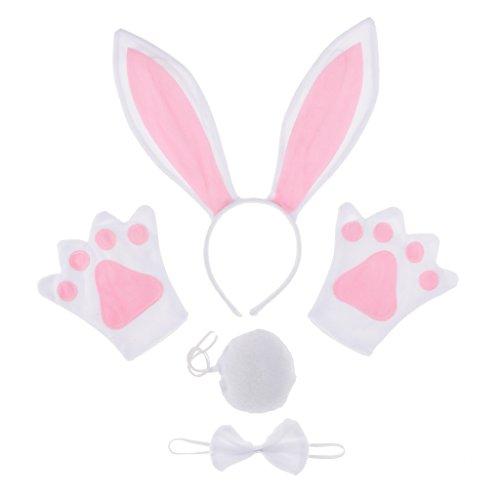 Baoblaze Kinder Tierkostüm 4tlg. - Hasenohren Stirnband Fliege Handschuhe und Schwanz - Kaninchen Kostüm Set Karnevalskostüme Tiere Cosplay Kostüm (Kaninchen Kostüm Kind)