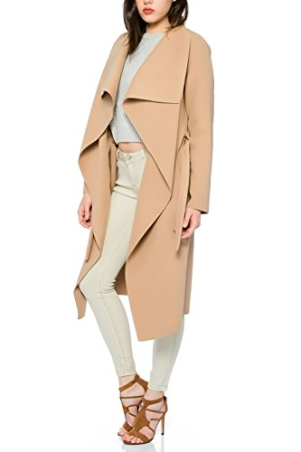 Kendindza Damen Mantel Trenchcoat mit Gürtel OneSize Lang und Kurz (OneSize, Camel Lang) - 2