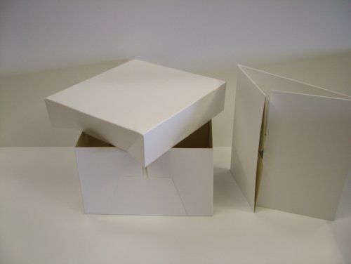 White Cake Box - 14 Inch With Removable Lid, Pack Quantity 10