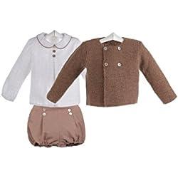 Ancar - Conjunto de chaqueta,camisa y ranita para bebé - 2 años, Marrón