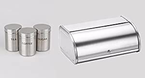 Stainless Steel Bread Bin & Sugar Tea Coffee Jar Pot Canister Set High Quality