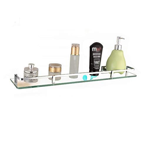 Mensola bagno in vetro temperato, con ripiano per mobile in vetro a parete, finitura spazzolata,silver,80cm