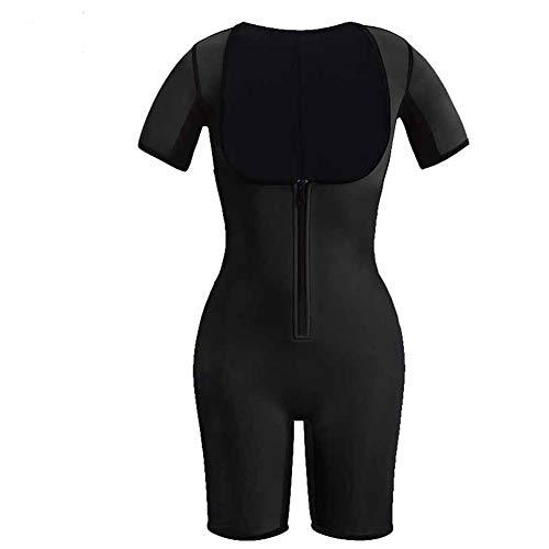 HXZB Frauen Sport Neopren Ganzkörper Shapewear Schnell Schweiß Reißverschluss Abnehmen Sauna Anzug,Black,L -