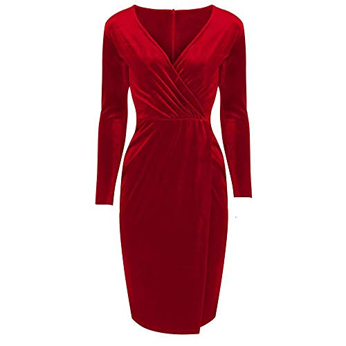 bb0783074bc8 Pretty Kitty Fashion Red Velour Wrap Split Skirt Long Sleeve Wiggle Dress,  16, Red