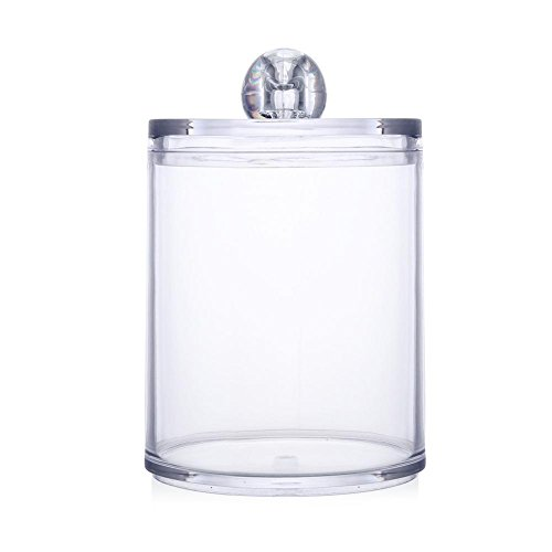 GMACY Acrylic Multifunctional Round Container Cosmetic Makeup Cotton Pad Organizer Jewelry Storage Box Holder and Candy Jars Swab Storage Case (Holder Candy Cotton)
